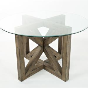 Круглый обеденный стол из массива №1-О со стеклянной столешницей